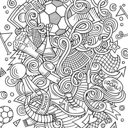 Cartoon vector doodles Football illustration. Colorful, detailed, with lots of objects background. All objects separate. Bright colors Soccer funny picture 矢量图像