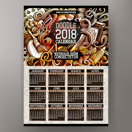 Cartoon colorful hand drawn doodles Hair salon 2018 year calendar template. English, Sunday start. Very detailed, with lots of objects illustration. Funny vector artwork.