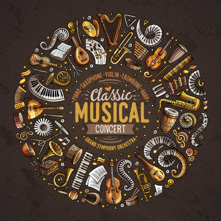 Set of vector cartoon doodle classic musical instruments and objects collected in a circle border Standard-Bild - 96140771