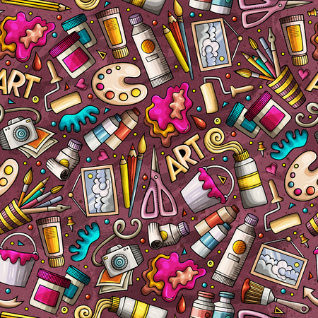 Cartoon cute hand drawn Design and Art seamless pattern