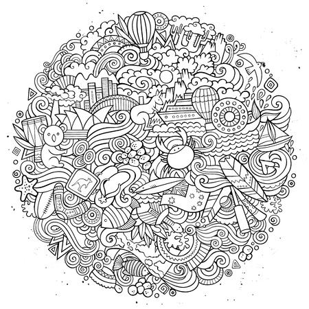 Australian doodles elements and symbols round illustration.  イラスト・ベクター素材