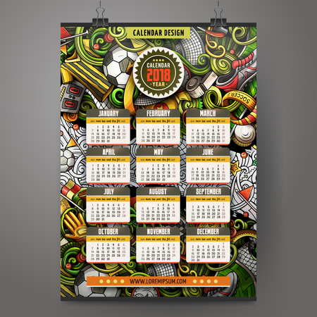 Cartoon colorful hand drawn doodles football 2018 year calendar.