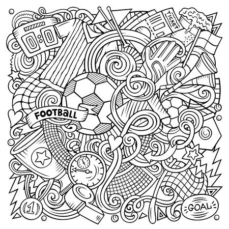 Cartoon vector doodles Football illustration.