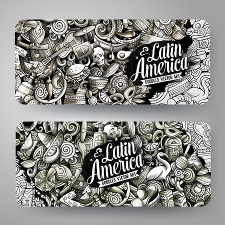 Cartoon graphics vector hand drawn doodles Latin America banners design.