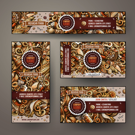 Corporate Identity vector templates set design with doodles hand drawn Mexican food theme.