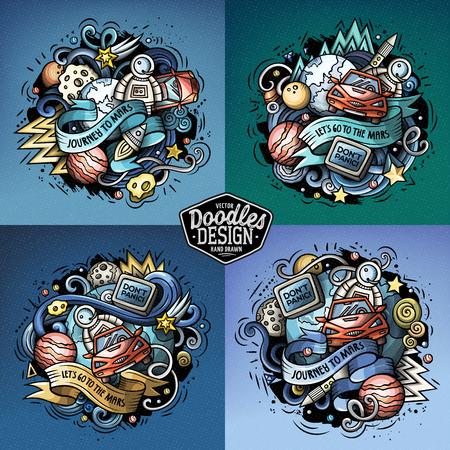 Space cartoon vector doodle compositions set.