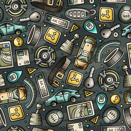Cartoon cute hand drawn automotive seamless pattern
