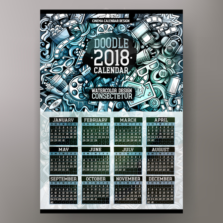 Cartoon colorful hand drawn doodles Cinema 2018 year calendar template. Illustration