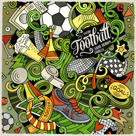 Cartoon vector doodles Football illustration. Colorful, detailed, with lots of objects background. All objects separate. Bright colors Soccer funny picture.