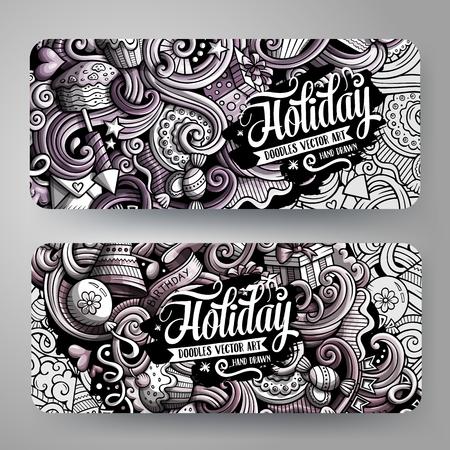 Cartoon graphics vector hand drawn doodles Holidays banners design. Illustration