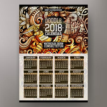 Cartoon colorful hand drawn doodles honey 2018 year calendar
