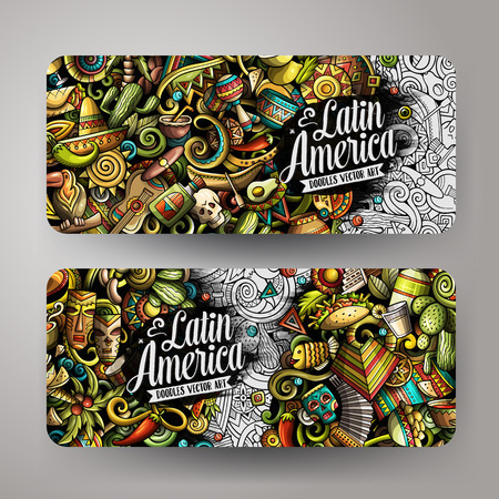 Cartoon cute colorful vector hand drawn doodles Latin America corporate identity. 2 horizontal banners design. Templates set. All objects separate.