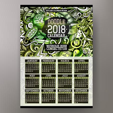 Cartoon hand drawn eco cars doodle for 2018 calendar design.