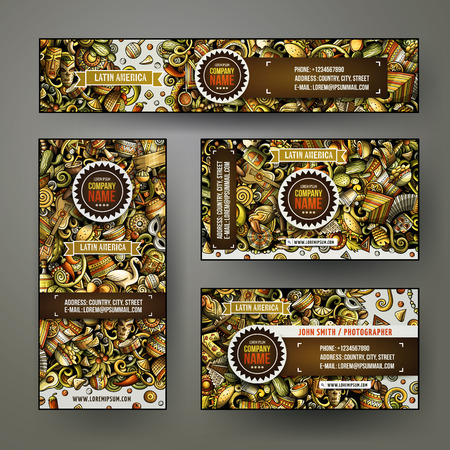 Corporate templates set design with hand drawn doodles in Latin America theme.