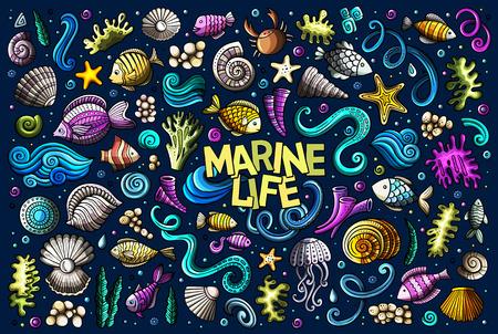 海洋生物オブジェクトのカラフルなセット