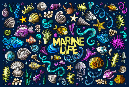 Colorful set of marine life objects Stock Vector - 97194126