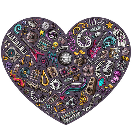 Cartoon doodle heart musical objects illustration