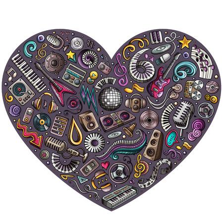Cartoon doodle heart musical objects illustration Foto de archivo - 97383467