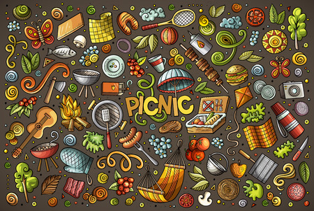 Doodle cartoon set of picnic objects Ilustração