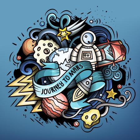 Cartoon space trendy design doodle illustration