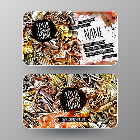 Cartoon graphics watercolor vector hand drawn doodles Hair salon corporate identity. 2 id cards design. Templates set