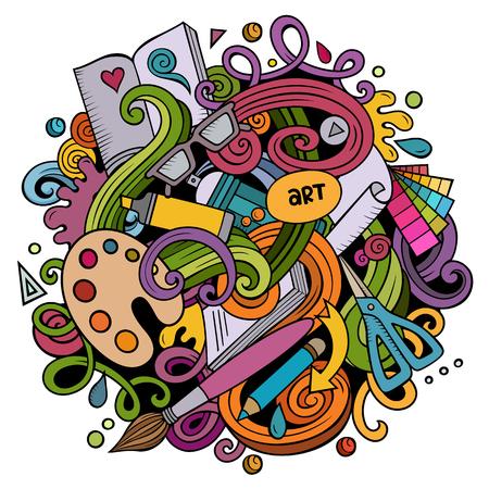 Vector de dibujos animados garabatos Ilustración de arte y diseño. Colorido, detallado, con muchos objetos de fondo. Todos los objetos se separan. Colores brillantes artística imagen divertida