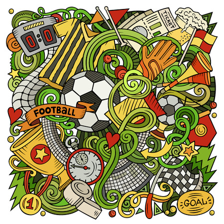 Cartoon vector doodles Football illustration. Colorful, detailed, with lots of objects background. All objects separate. Bright colors Soccer funny picture Ilustrace