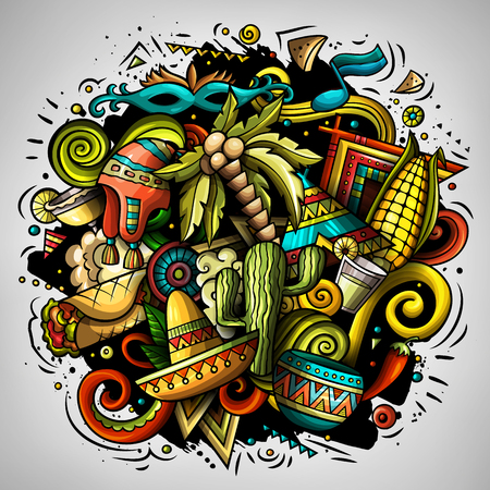 Cartoon vector doodles Latin America illustration. Colorful, detailed, with lots of objects background. All objects separate. Bright colors latinamerican funny picture