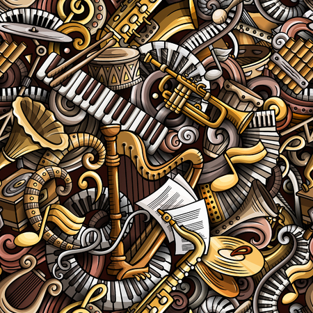 Cartoon cute doodles Classical music seamless pattern. Colorful detailed, with lots of objects background. All elements separate. Backdrop with musical instruments objects