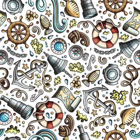 Cartoon nautical seamless pattern