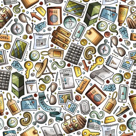 Cartoon Traveling seamless pattern with lots of objects Standard-Bild - 97227664