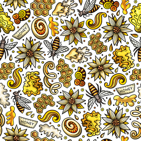 Cartoon cute Honey seamless pattern Иллюстрация