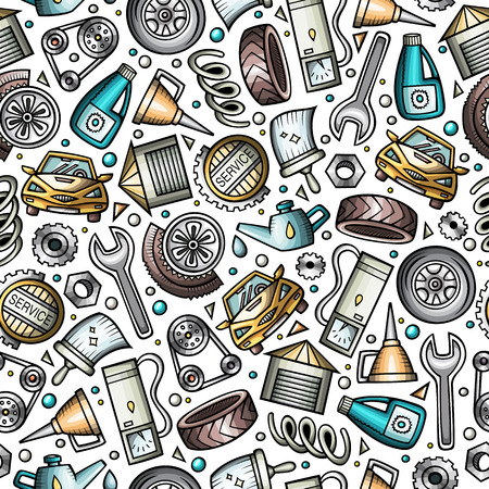 Cartoon cute hand drawn Automotive seamless pattern