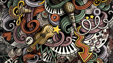 Doodles Music illustration. Creative musical background 免版税图像
