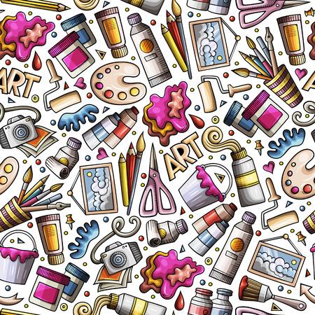 Cartoon schattig hand getekend ontwerp en kunst naadloze patroon