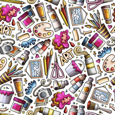 Cartoon cute hand drawn Design and Art seamless pattern