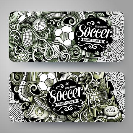 Cartoon graphics vector hand drawn doodles Football banners design. Ilustrace