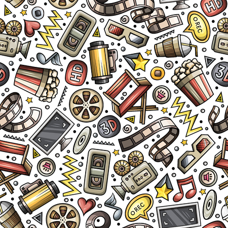 Cartoon cute hand drawn Cinema seamless pattern. Colorful detailed, with lots of objects background. Endless funny vector illustration