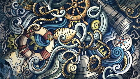 Doodles Nautical illustration. Creative marine background Stock Photo