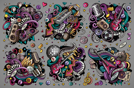 Colorful vector hand drawn doodles cartoon set of disco music combinations of objects and elements