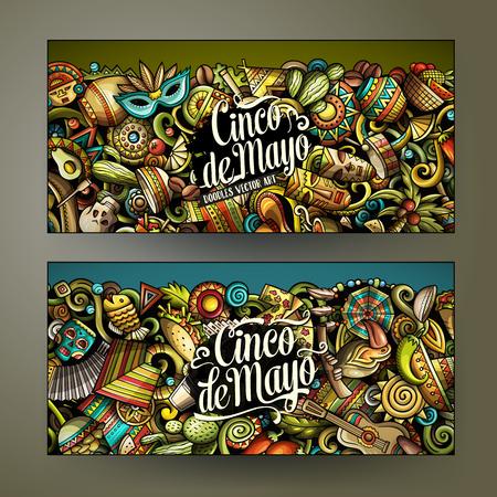 Cartoon vector doodles of Latin America horizontal banners set
