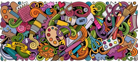 漫画ベクトル落書きアートとデザイン水平ストライプイラスト
