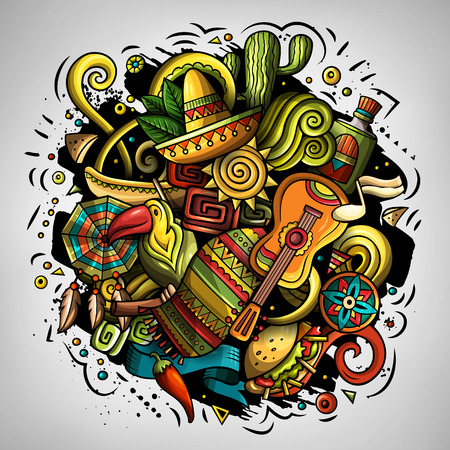 Cartoon vector doodles with Latin American theme illustration Vettoriali