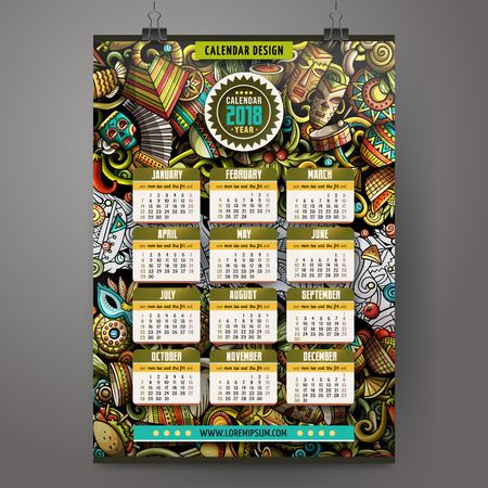 Cartoon colorful hand drawn doodles with Latin American design for 2018 year calendar