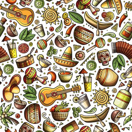 Cartoon hand-drawn latin american, mexican seamless pattern