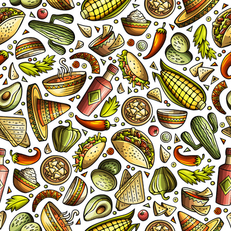 Cartoon cute hand drawn Mexican food seamless pattern.