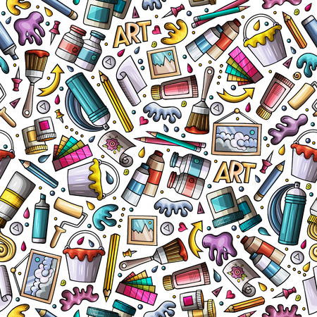 Cartoon cute hand drawn Artist tools seamless pattern