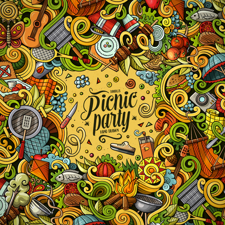 Cartoon vector picnic doodle illustration Иллюстрация