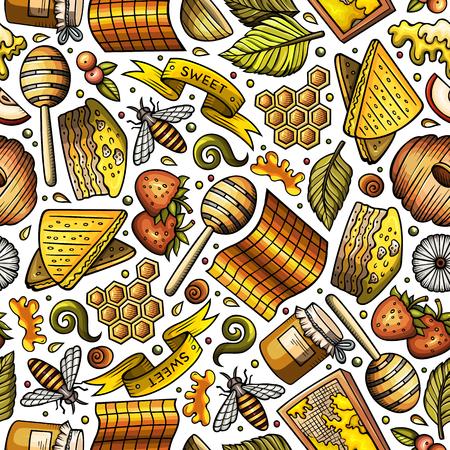 Cartoon cute Honey seamless pattern Illustration