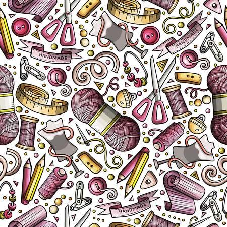 Cartoon cute hand drawn sewing materials seamless pattern
